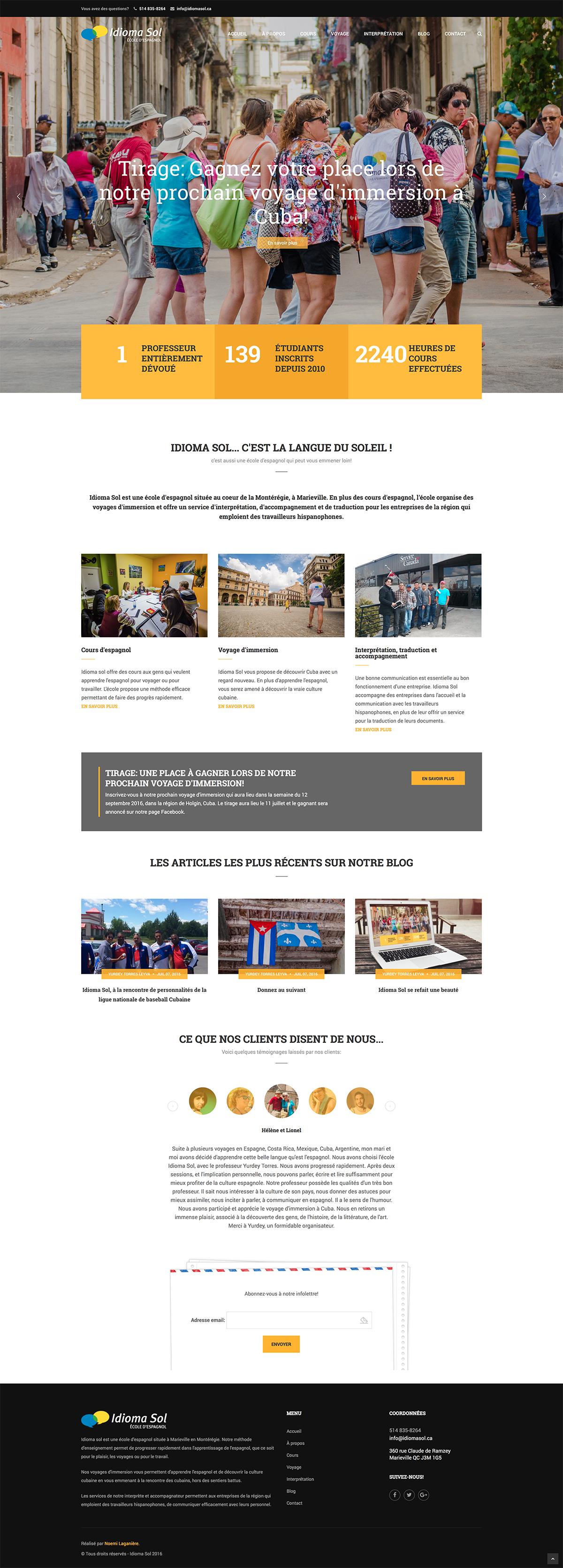 Page d'accueil du site web de Idioma Sol
