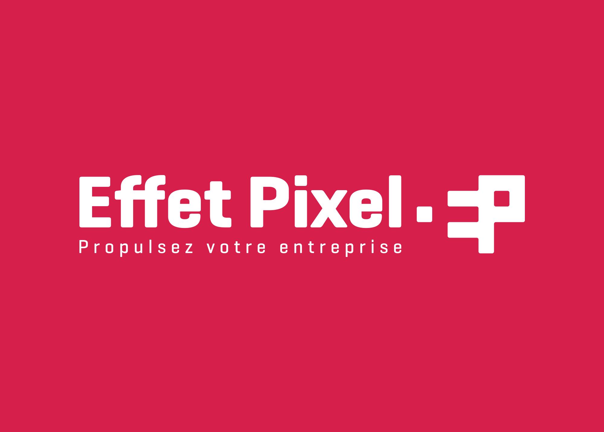 Logo Effets Pixel monochrome sur fond rouge