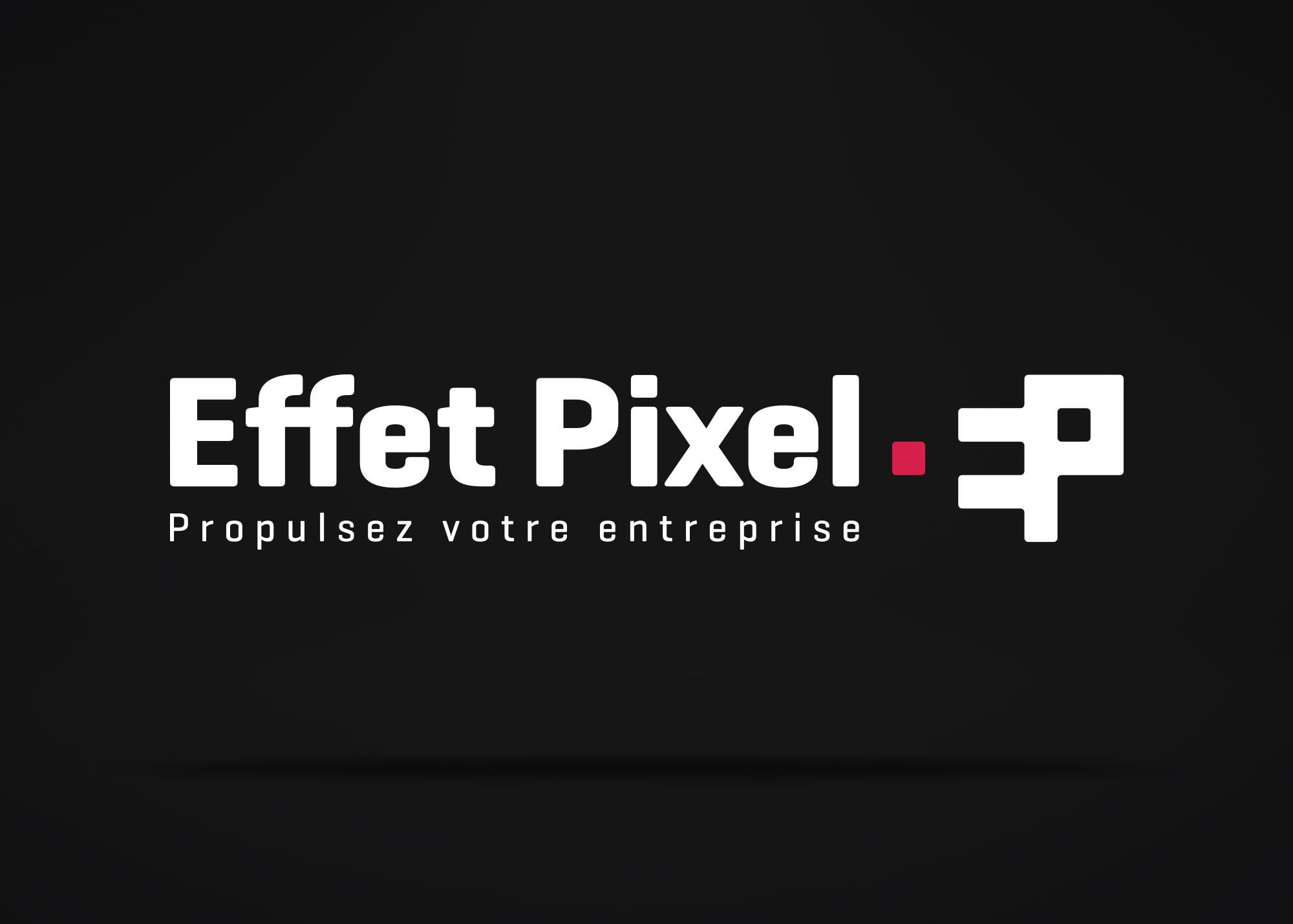 Logo Effet Pixel renversé sur fond noir