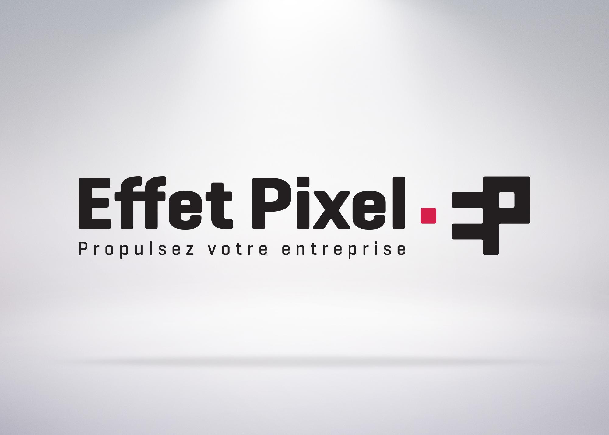 Logo effet pixel avec slogan