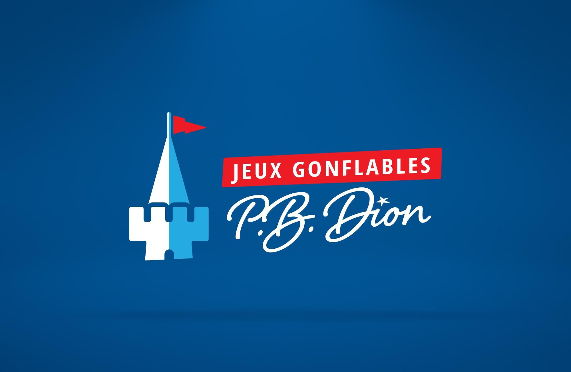 Logo de l'entreprise Jeux Gonflables PB Dion sur fond foncé