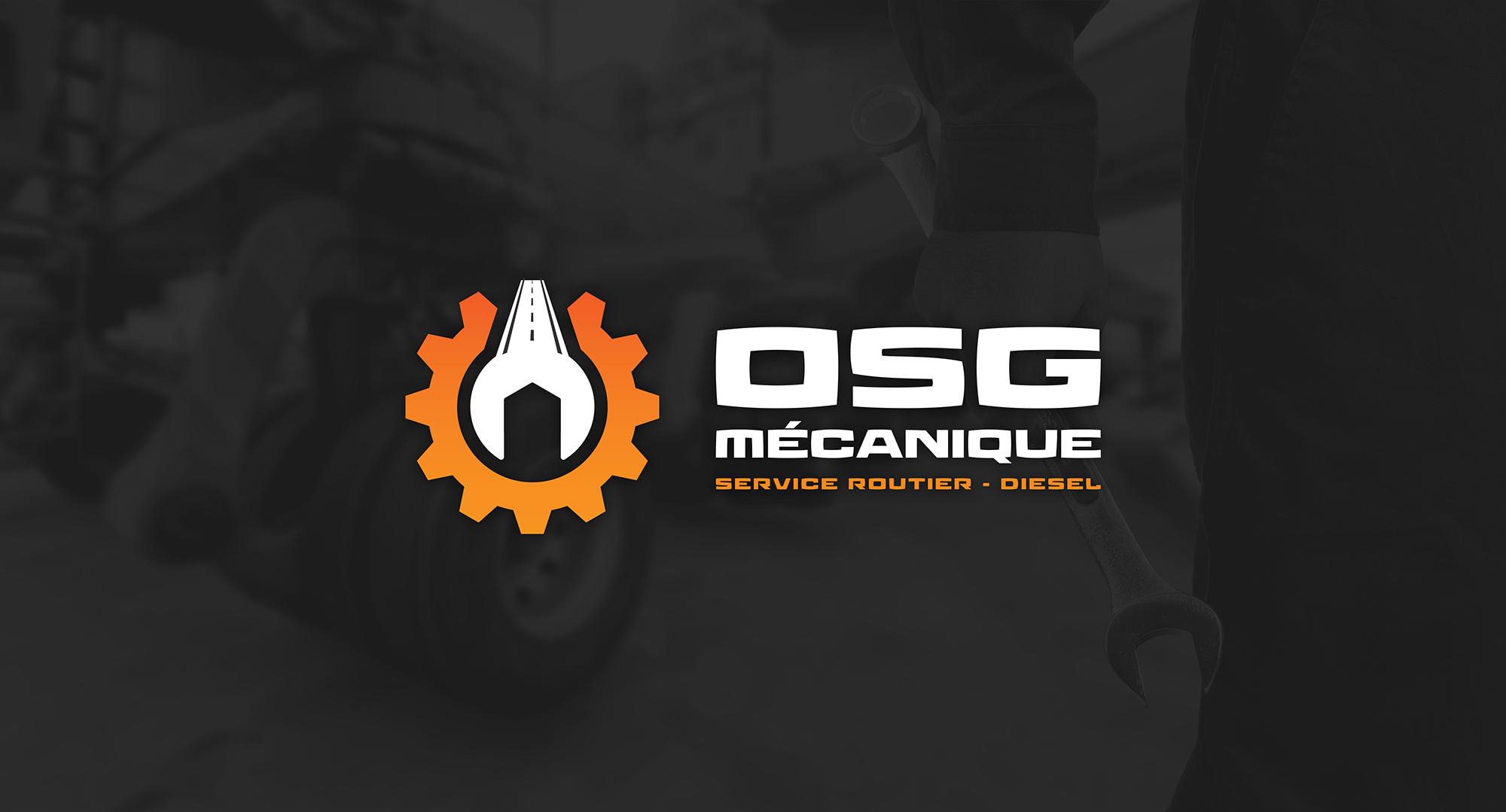 Logo renversé de OSG mécanique